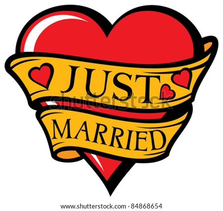 Just Married Design (Heart) Stock Vector Illustration ...