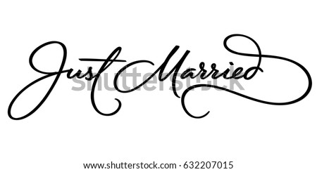 JUST MARRIED hand lettering, vector illustration. Hand drawn lettering card background. Modern handmade calligraphy. Hand drawn lettering element for your design. Сток-фото ©