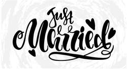 Just married. Handdrawn lettering for wedding cards.