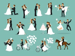 Just married, newlyweds, bride and groom set. Happy Couple celebrating marriage, dancing, kissing, hugging, holding each other in arms, cut cake, riding bike and horse, jumping after ceremony