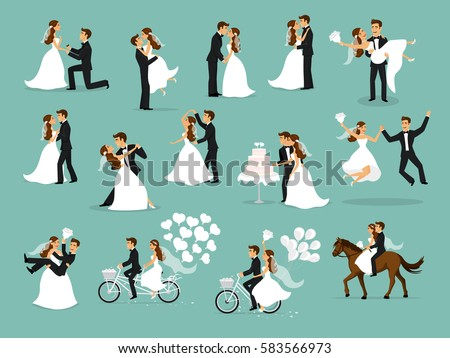 Shutterstock Just married , newlyweds, bride and groom set. Happy Couple celebrating marriage, dancing, kissing, hugging, holding each other in arms, cut cake, riding bike and horse, jumping after ceremony