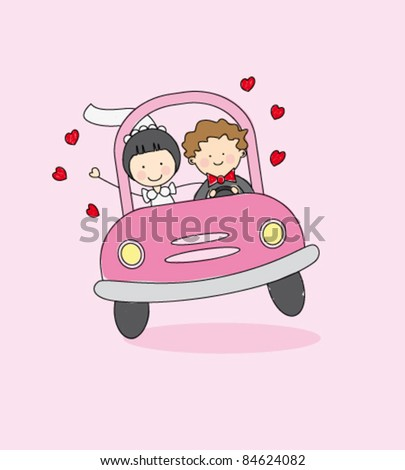 Just married on car driving to their honeymoon