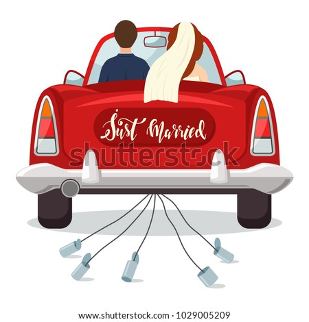 Just married red car with the bride and groom. Wedding vector illustration with a newlywed couple isolated on a white background. Foto stock ©