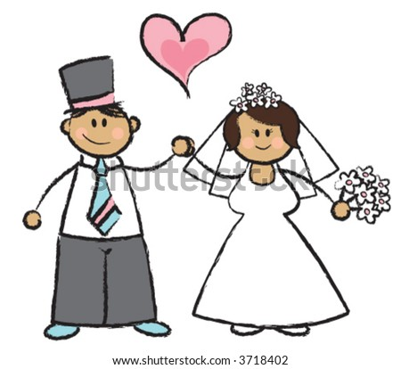 wedding images cartoon. (vector) - cartoon illustration of a wedding couple