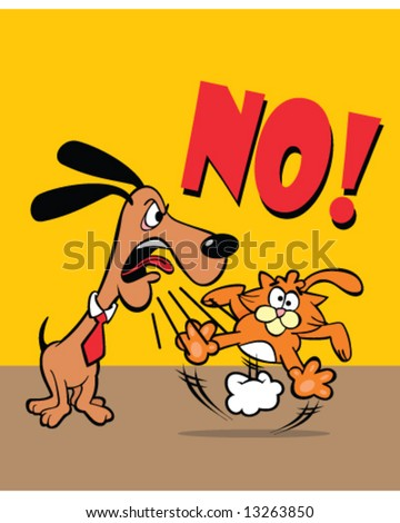 Just say no - vector of dog wearing collar and tie saying no to a startled orange cat