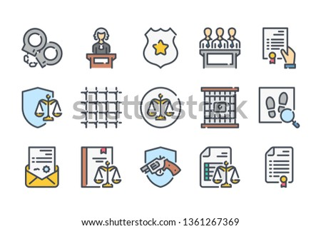 Justice and law related color line icon set. Lawyer and judge linear icons. Government colorful outline vector sign collection.