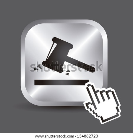justice button over gray background. vector illustration