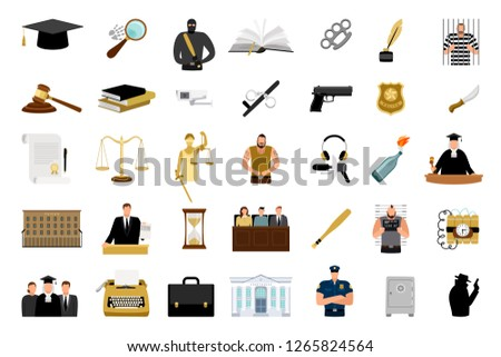 Justice flat icons. Criminal defense and lawyer briefcase, justice scale and judge hammer flat design big icon set, court and law vector signs