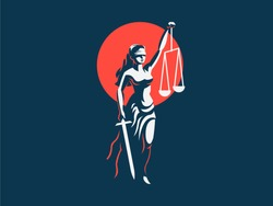 Justice Goddess Themis. Vector emblem.