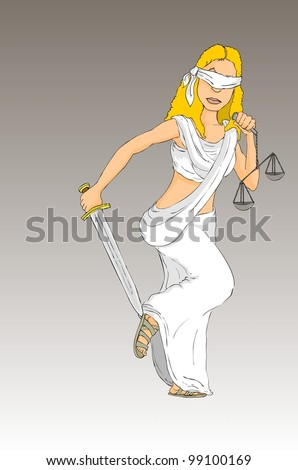 Justice goddess Themis with sword and scales - stock vector