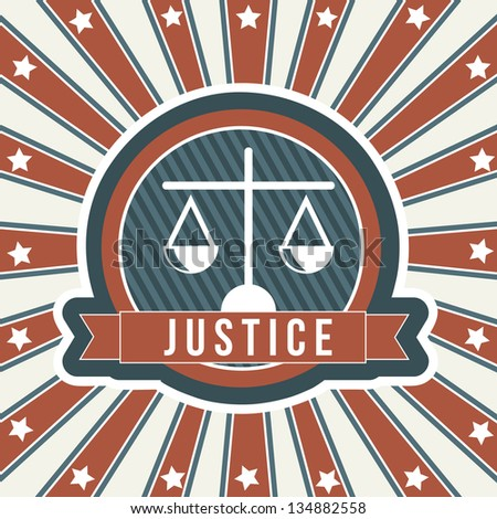 justice icon over vintage background. vector illustration