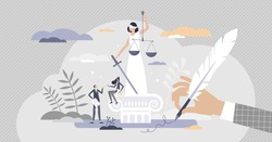 Justice lady with legal law code education and judgment study tiny person concept. Judge, advocate or attorney work in government lawsuit as professional defense cases in court vector illustration.