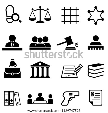 Justice, law, legal and lawyer web icon set
