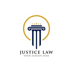 justice law logo design template. attorney logo with pillar and star shape illustration