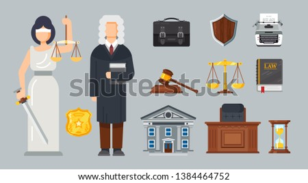 Justice of Peace, Themis with balance weights. Protection of rights, guarantee of safety of citizens, judicial system of law and justice, courthouse and main attributes of judge. Vector illustration.