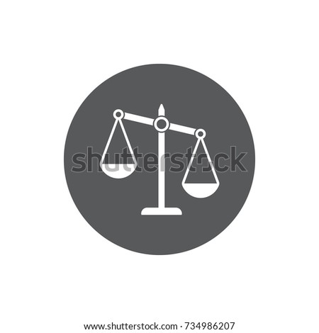 justice scale icon. vector illustration on white background.