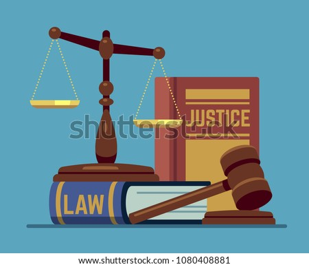 Justice scales and wood judge gavel. Wooden hammer with law code books. Legal and legislation authority vector concept. Justice law judgment, hammer and punishment illustration
