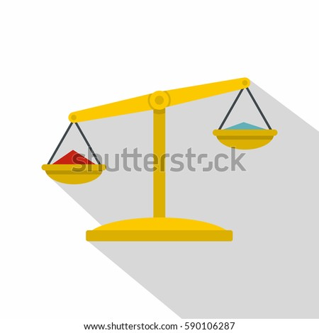 Justice scales icon. Flat illustration of justice scales vector icon for web isolated on white background