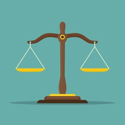 Justice scales icon. Law balance symbol. Libra in flat design. Vector illustration.