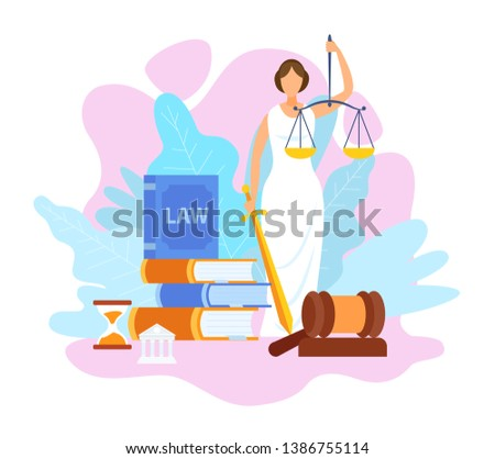 Justice Statue Holding Scales Flat Illustration. Law, Order and Judgement Symbols. Legal Books, Textbooks Stack. Jurisprudence University Faculty, Course. Juridical Science School, Education