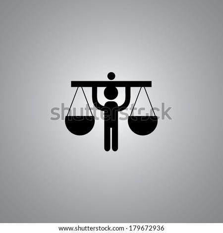 justice symbol on gray