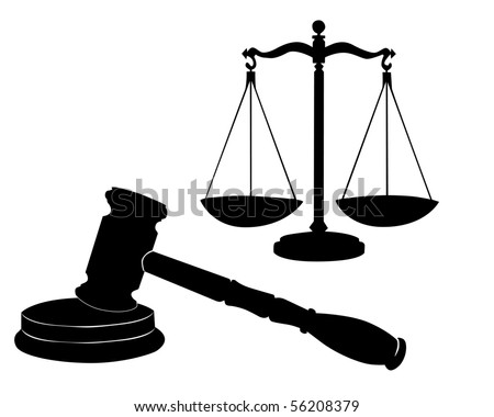 Justice symbols on a white background