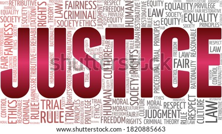 Justice vector illustration word cloud isolated on a white background. Foto stock ©
