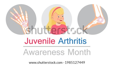 Juvenile arthritis awareness month concept vector. Rheumatoid arthritis of foot, arm. Treat rheumatism, osteoarthritis, make ultrasound, x ray. World arthritis day, polyarthritis sign. Stock foto ©