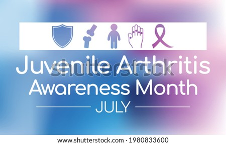 Juvenile Arthritis awareness month is observed every year in July. The most common symptoms of the disease are joint swelling, pain and stiffness, it is usually an autoimmune disorder. Vector art Stock foto ©