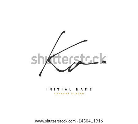 K A KA Beauty vector initial logo, handwriting logo of initial signature, wedding, fashion, jewerly, boutique, floral and botanical with creative template for any company or business. Stock fotó ©