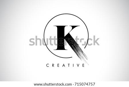 K Brush Stroke Letter Logo Design. Black Paint Logo Leters Icon with Elegant Circle Vector Design. Stock fotó ©