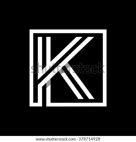 K capital letter enclosed in a square. . Overlapping with shadows monogram, logo, emblem. Trendy design.  Stock fotó ©