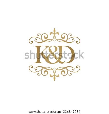 K&D Initial logo. Ornament ampersand monogram golden logo Stock fotó ©