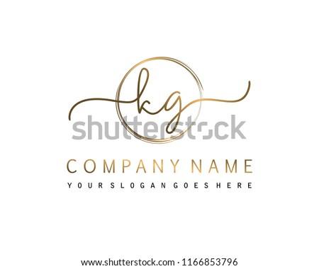 K G Initial handwriting logo vector Stock fotó ©