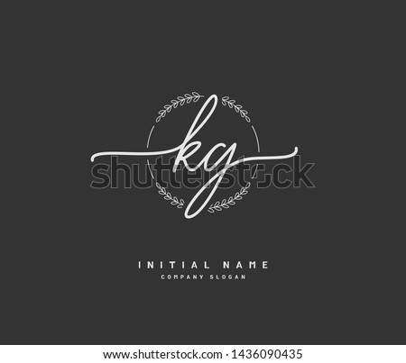K G KG Beauty vector initial logo, handwriting logo of initial signature, wedding, fashion, jewerly, boutique, floral and botanical with creative template for any company or business.