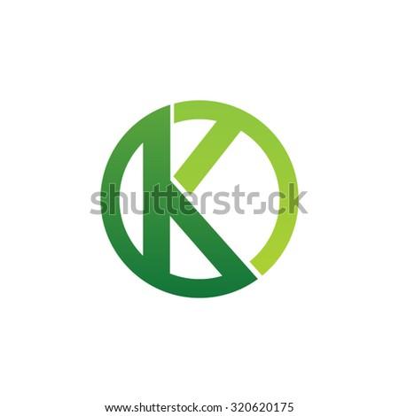 K initial circle company or KO OK logo green Zdjęcia stock ©