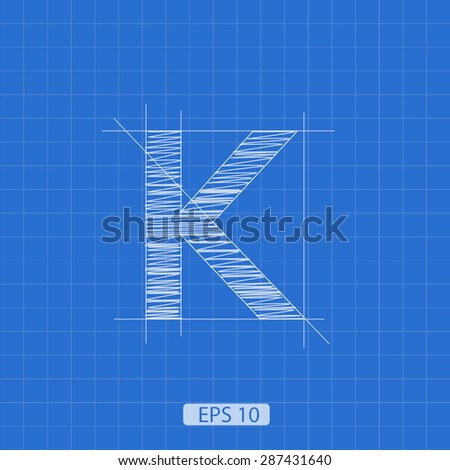 k letter architectural plan on