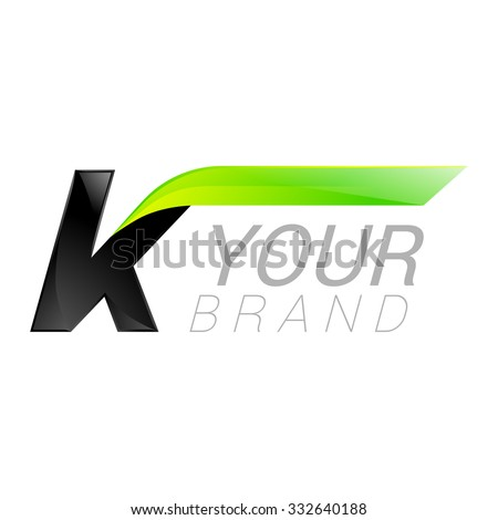 k letter black and green logo