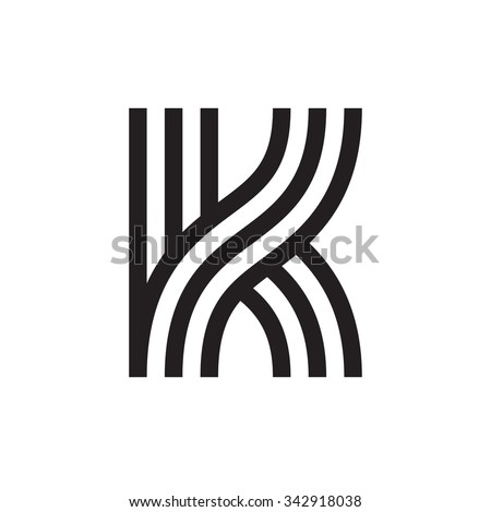 K letter formed by parallel lines. Vector design template elements for your application or corporate identity. Stock fotó ©