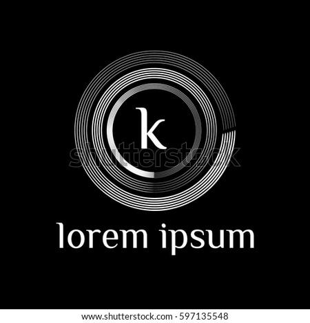 k letter golden logo. Luxury linear monogram template Stock fotó ©