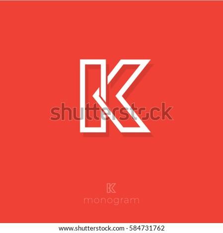 K letter. K monogram. Flat linear letter on a orange background. Stock fotó ©