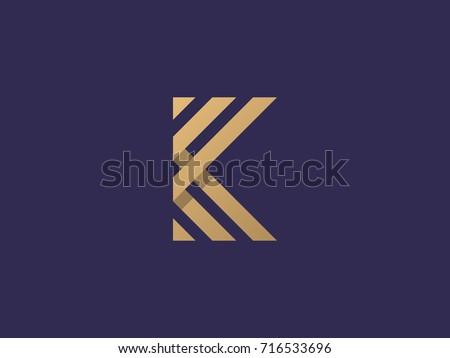 K Letter Logo concept. Creative Minimal emblem design template. Universal elegant icon. Premium business finance logotype. Graphic Alphabet Symbol for Corporate Business Identity. Vector element