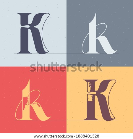 K letter logo with elegant line decoration. Four style serif font set. Vector vintage icon perfect to use in any alcohol labels, glamour posters, luxury identity, etc. Stock fotó ©