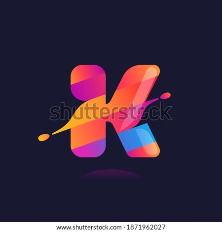 K letter logo with vibrant wave gradient shift. Vector font perfect to use in any disco labels, dj cards, nightlife posters, expressive identity, etc. Stock fotó ©
