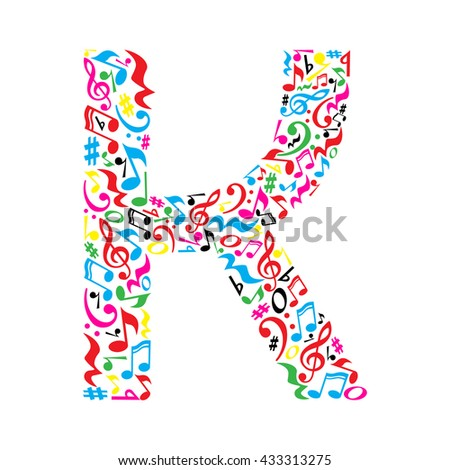 k letter made of colorful