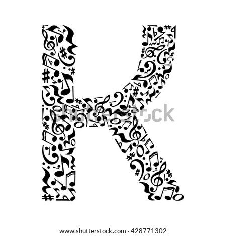 k letter made of musical notes
