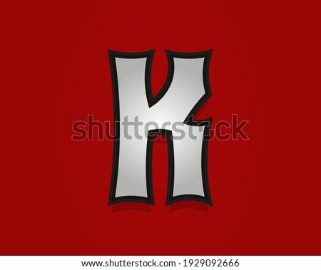 K letter Rock and Roll font. Classic, retro vintage 1970s design. Vector font for rock music poster, vintage label and more Stock fotó ©