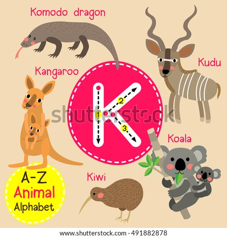 k letter tracing kangaroo