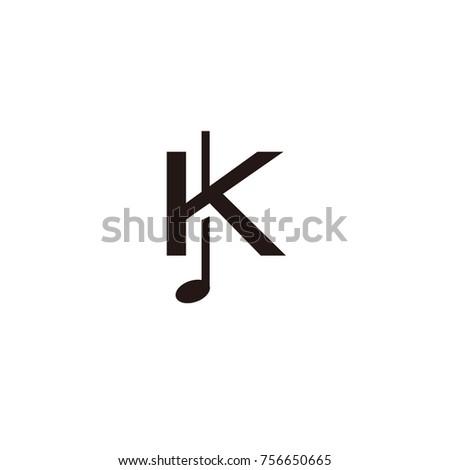 k logo music flat vector
