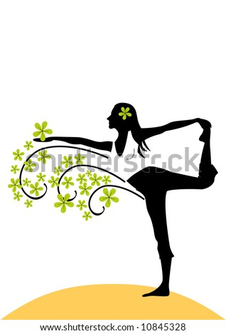 K?ng dancer pose silhouette with green flowers.